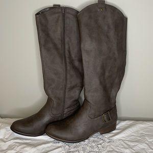 "Bass grey/brown ""Adrian"" tall harness western boot"